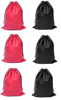 Demoda Shoe Bags /Drawstring Bag Multipurpose Bag(Pack of 6-3 Black,3 Red)