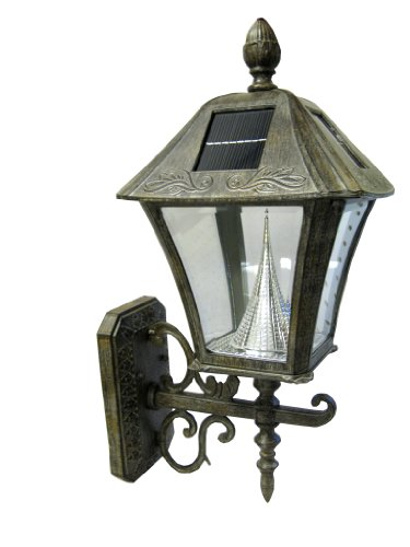Gama Sonic Manufacturer-Refurbished Baytown Solar Outdoor Led Light Fixture, Wall Mount, Weathered Bronze Finish