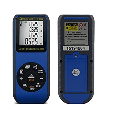 HoldPeak HP-5series Laser Distance Meter Measuring Device Area/ Volume/ Indirect/ Continuous Measurement Memory Recall and Back Light