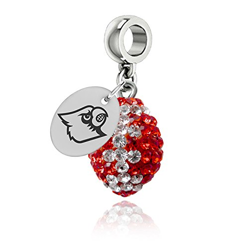 Louisville Cardinals Crystal Football Drop Charm Fits All European Style Charm Bracelets