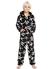 Hooded Skull Print Fleece Onesie