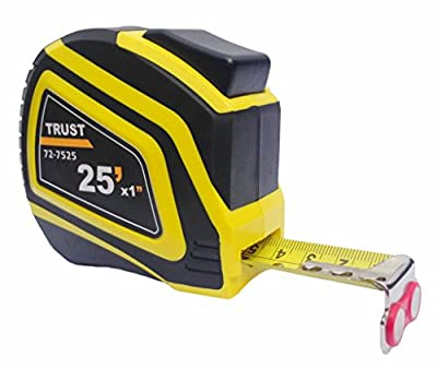 Trust Measuring Tape Measure 25 Foot by 1 Inch, Imperial and Metric, Auto Lock, Lifetime Warranty, Magnetic Hook, Heavy Duty Nylon Bonded Blade from Trust
