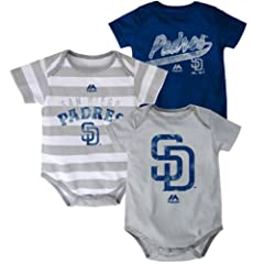 San Diego Padres Baby Infant Triple Play 3 Piece Creeper Set by Majestic
