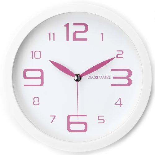 DecoMates Non-Ticking Silent Wall Clock, Fresh Mint, Pink Peppermint