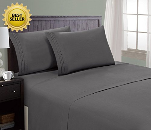 HC Collection Bed Sheet & Pillowcase Set HOTEL LUXURY 1800 Series Egyptian Quality Bedding Collection! Deep Pocket, Wrinkle & Fade Resistant,Luxurious,Comfortable,Extremely Durable(Queen, Grey) (King Bed Sheets Egyptian Cotton compare prices)