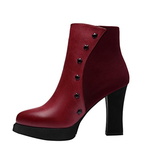 Passionow Women's Fashion Sarts Studded Waterproof Platform Block Heel Ankle Boots (7 B(M)US,red)