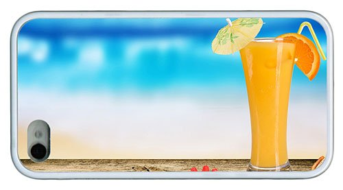 Stylish Iphone 4 Case Water Proof Cover Cocktail Of Orange Juice Tpu White For Iphone 4/4S front-1075376