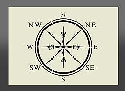 Apex Laser Ltd Compass Shabby Chic Mylar Stencil A4 297x210mm Wall Art, Furniture Stencil, Fabric Stencil