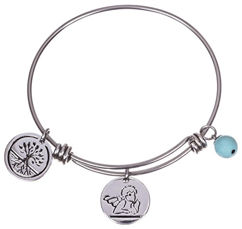 [Silver Plated Stainless Steel Expandable Charm Bracelet Bangle - Guardian Angel] (Link Deluxe Adult Kit)