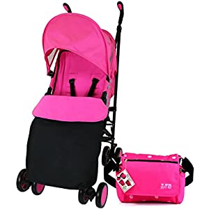 Zeta Citi Stroller Buggy Pushchair - Raspberry Pink (Complete With Footmuff + Bag + Raincover) by Baby Travel