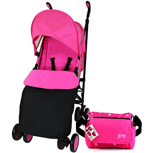 Zeta Citi Stroller Buggy Pushchair - Raspberry Pink (Complete With Footmuff + Bag + Raincover)