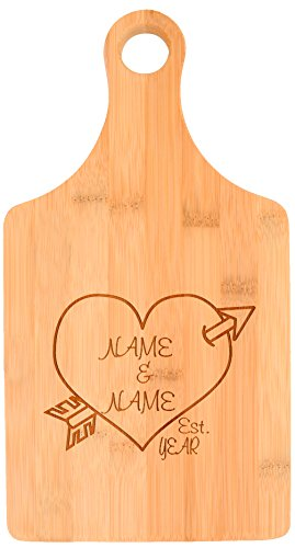 Custom Wedding Gift Couples Established Date Heart Personalized Paddle Shaped Bamboo Cutting Board
