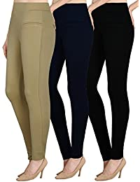 NGT Womens Beige, Navy Blue And Black Color Jegging In Special Quality.