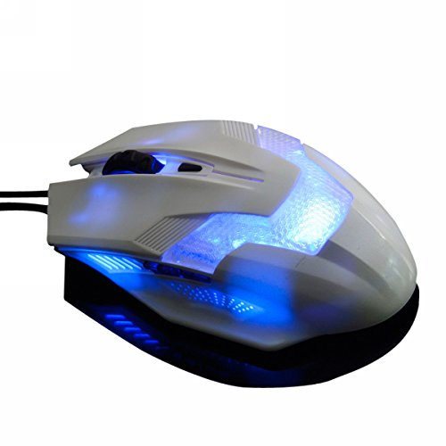 Merdia USB Wired Gaming Mouse With 3 Level DPI Switch Blue LED 6 Button - Green Hornet(White)