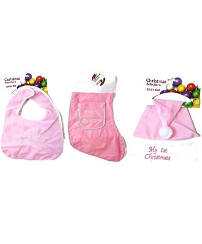 Baby'S First Christmas Stocking With Baby Hat & Bib (Girl)