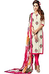 ZHot Fashion Women's Embroidered Un-stitched Dress Material In Cotton Fabric (ZHDM1013) Off White