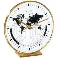 De pared de cuarzo-reloj carro, de latón de reloj de mesa, con el mundo de la indicación de hora, aproximadamente 19 cm de alto, de unos 18 cm de ancho, aproximadamente 6,5 cm de profundidad de HERMLE