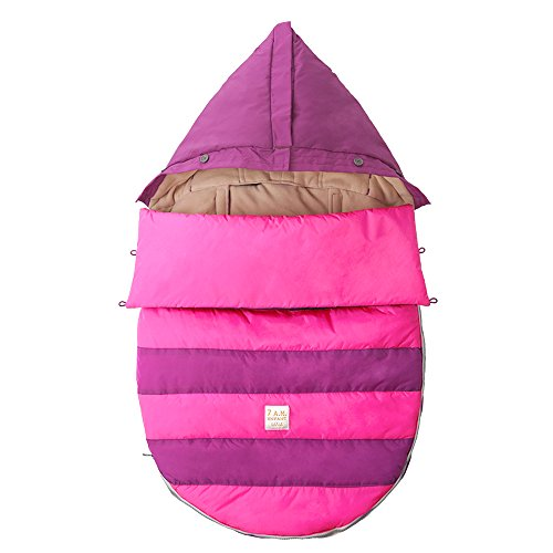 7AM Enfant Bee Pod Baby Bunting Bag for Strollers and Car-Seats with Removable Back Panel, Grape/Neon Pink, Small/Medium