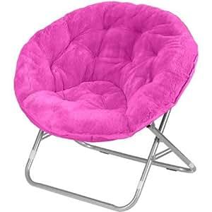 Amazon Com Mainstays Faux Fur Saucer Chair Hot Pink