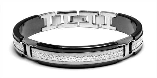 Edward Mirell Men's Black Titanium and Hammered Sterling Silver Bracelet, 8