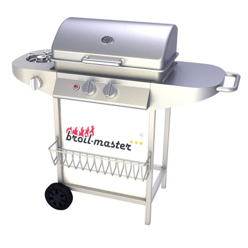 broil-master® Bbqg02eusilver Bbq Gas Grill Wagon Portable With 2 Burner + 1 Side Burner