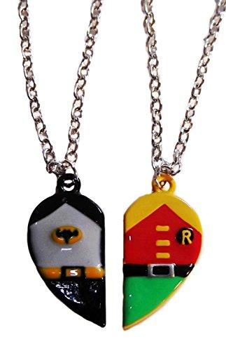 BATMAN & ROBIN Set of 2 BFF Best Friends Half-Heart PENDANTS