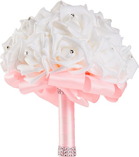 WorldofWeddings, Handmade Crystal Pearl Silk Rose Bridal Wedding Bouquet (Pink)