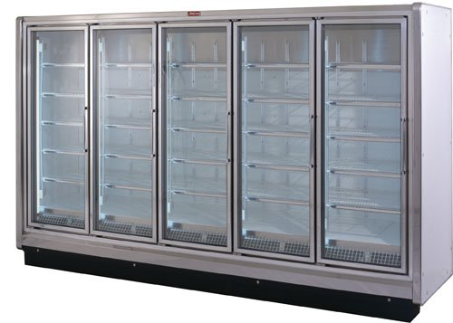 refrigerator that has designer white interior & exterior with (5) epoxy coated shelves per door. Endless for continuous lineups