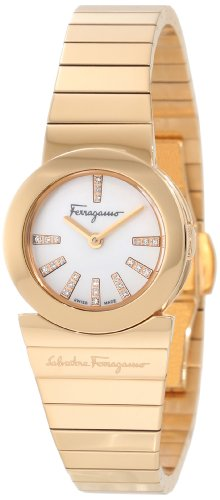 Ferragamo Women's F70SBQ5091i S080 Gancino Gold IP Mother of Pearl Diamonds Watch