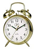 Acctim Saxon Large Double Bell Alarm Clock Brass