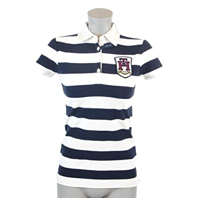 Tommy Hilfiger Slim Fit Womens Striped Logo Rugby Shirt at