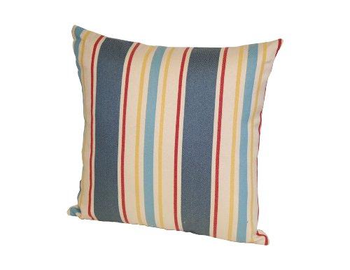 Rennie & Rose Outdoor/Indoor Fabrics Cayman/Stripe Outdoor Stuffed Pillow, 18-Inch, Blue