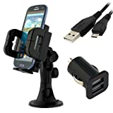 IKross 3in1 Car Vehicle Windshield / Dashboard / Air Vent Mount Holder + 2-Port USB Car Charger + Micro USB Data Cable for LG Nexus 5, G2 ;Nokia Lumia 925 ,Lumia 1020 ,BlackBerry Z30 ,Samsung Galaxy Note 3 ; Sony Xperia Z Ultra ,Xperia M ,Xperia SP and O