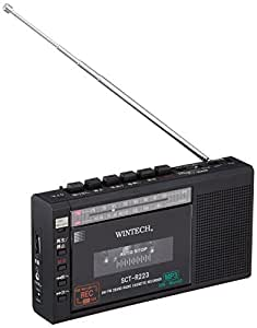 WINTECH マイクロSD/USB録音対応コンパクトラジカセ SCT-R223K ブラック