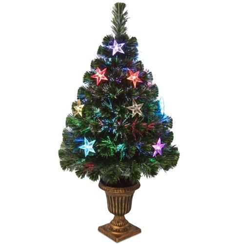 "National Tree Szex7-133-36 Fiber Optic ""Evergreen"" Firework Tree With Multi Led Stars In Plastic Urn-Ul, 36-Inch"