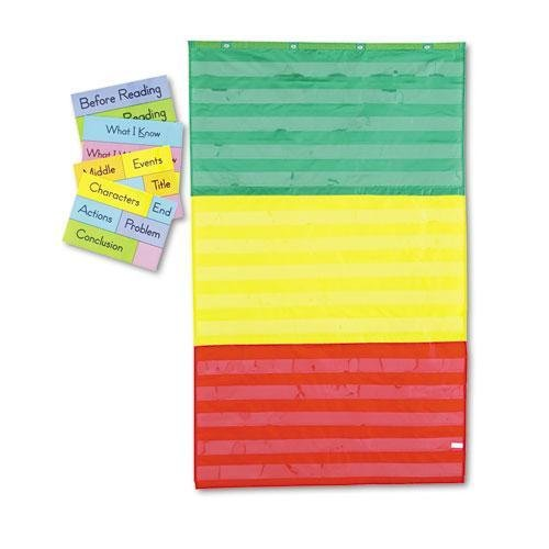 CARSONDELLOSAPUB CD5642 Adjustable Tri-Section Pocket Chart with 18 Color Cards, Guide, 36 x 60 (Adjustable Height Chart compare prices)