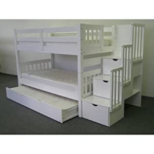 Cloudseller STAIRCASE BUNK BED WITH 3 DRAWER STORAGE IN