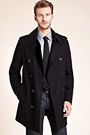 Big & Tall Wool Blend Double Breasted Trench Coat