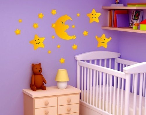 Style and Apply Colorful Moon and Stars Wall Decal Set