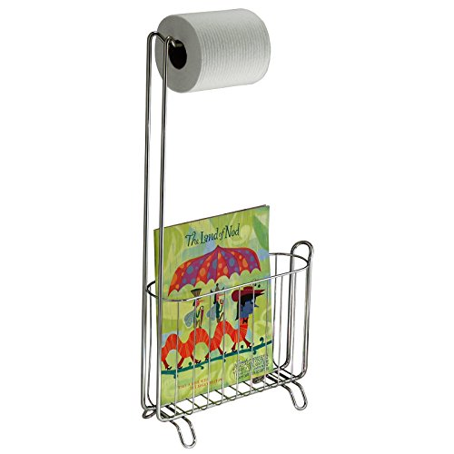 Mdesign free standing toilet paper holder and newspaper and magazine rack for bathroom chrome - Porta carta igienica ikea ...