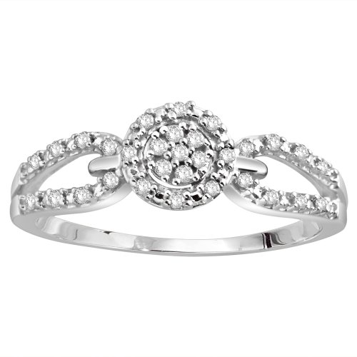 Sterling Silver Diamond Fashion Promise Ring (1/6 cttw, H-I Color, I2 Clarity), Size 6
