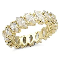 CUBIC ZIRCONIA BANDS - 14K Gold Plated All Marquise CZ Eternity Band Size 10