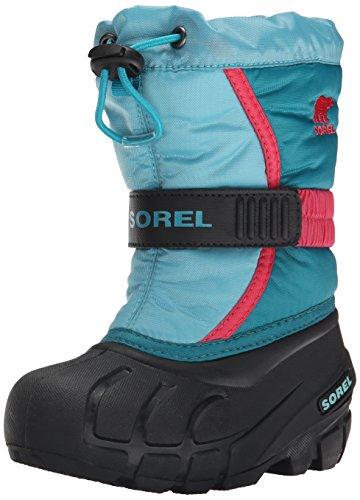 Sorel CHILDRENS FLURRY, Stivaletti da neve a gamba corta, imbottitura pesante Unisex - bambino, Blu (Blau (Aqua, Tango Pink 477)), 26