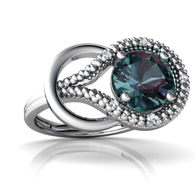 Created Alexandrite 14ct White Gold Love Knot Ring