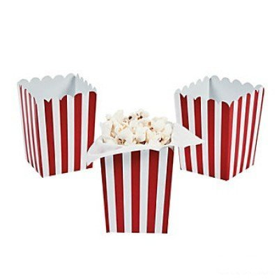 Mini Red Striped Popcorn Boxes - 24 ct