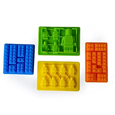 MIREN Building Bricks & Robots Silicone Candy Mold, Chocolate Mold, Jelly Mold, Pastry Making Mold, Ice Cube Tray, Soap Mold - For Lego Lovers (Set of 4)