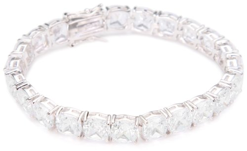 CZ by Kenneth Jay Lane Rhodium-Plated Cushion Cut Cubic Zirconia Tennis Bracelet