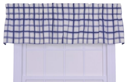 Logan Large Scale Plaid Tailored Valence Window Curtain, Blue