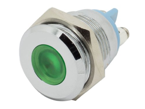 "Alpinetech 16Mm 5/8"" Green 12V Led Metal Indicator Pilot Custom Dash Light Lamp"