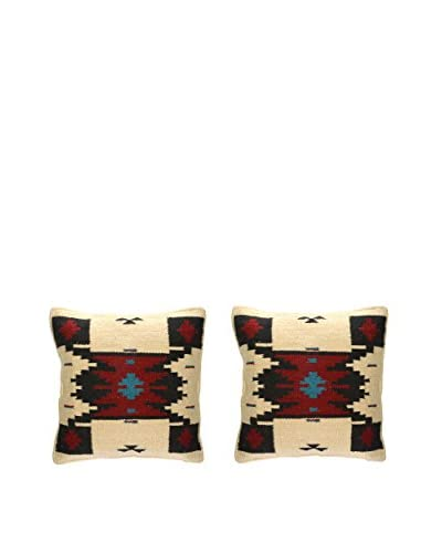 Uptown Down Set of 2 Wool Throw Pillows, Red/Natural